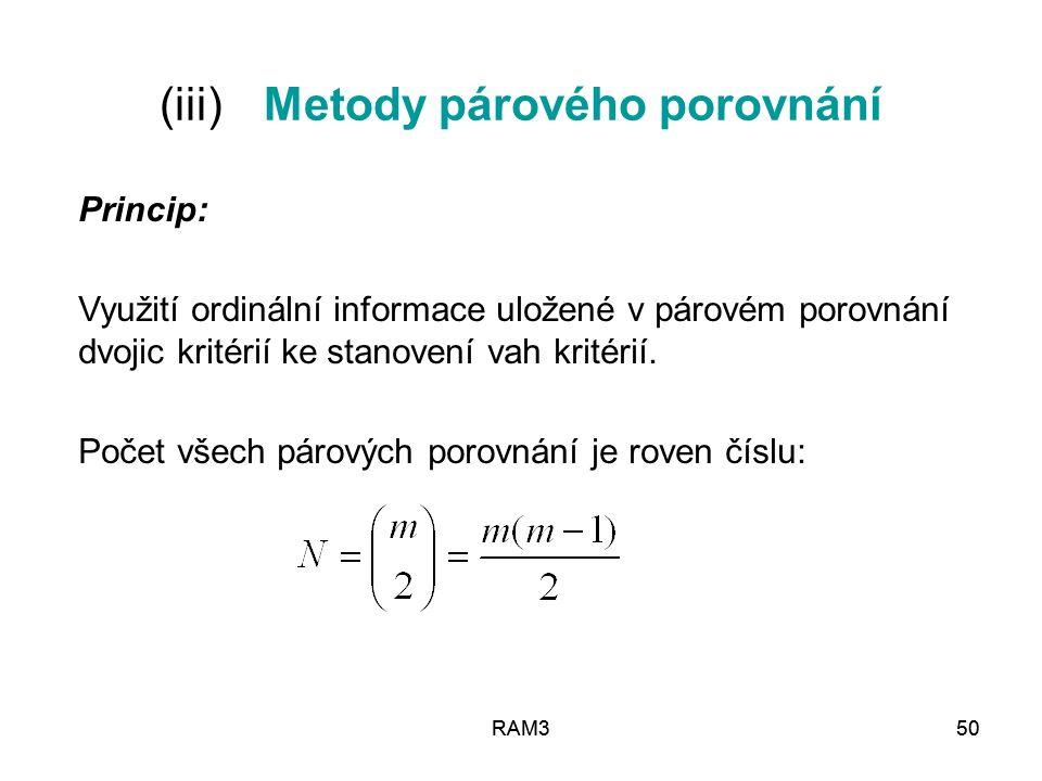 (iii) Metody párového porovnání