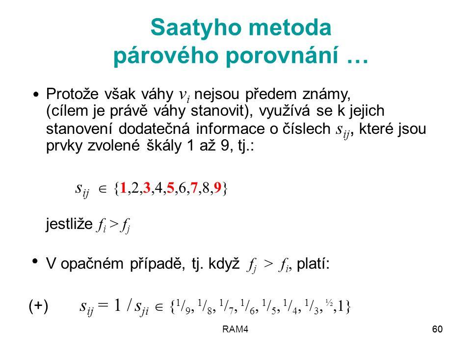 Saatyho metoda párového porovnání …