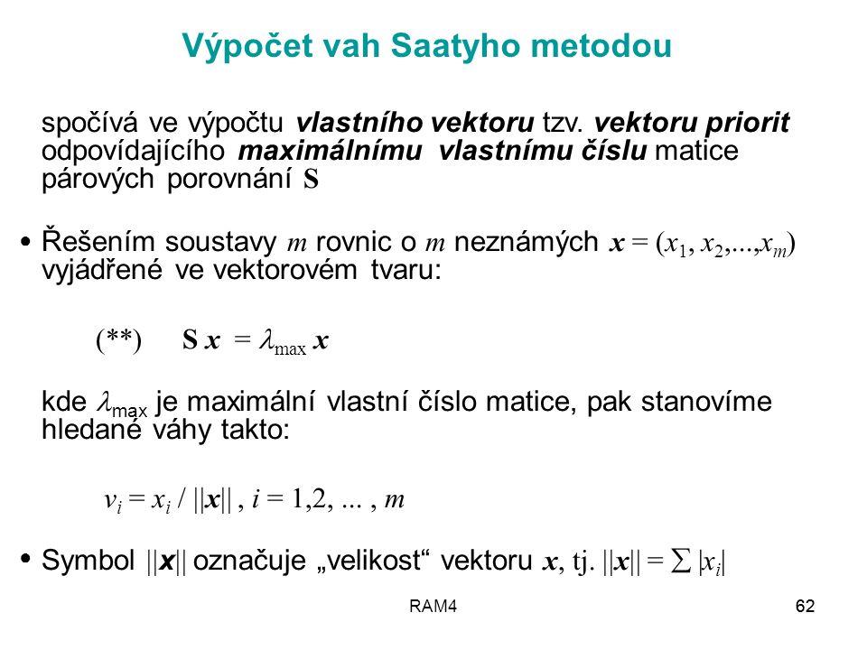 Výpočet vah Saatyho metodou