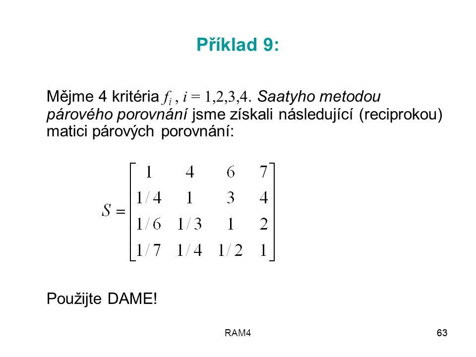 Příklad 9: Mějme 4 kritéria fi , i = 1,2,3,4. Saatyho metodou párového porovnání jsme získali následující (reciprokou) matici párových porovnání: