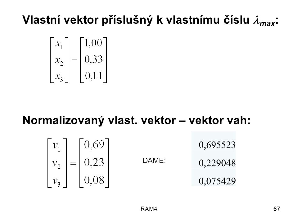 Vlastní vektor příslušný k vlastnímu číslu max: