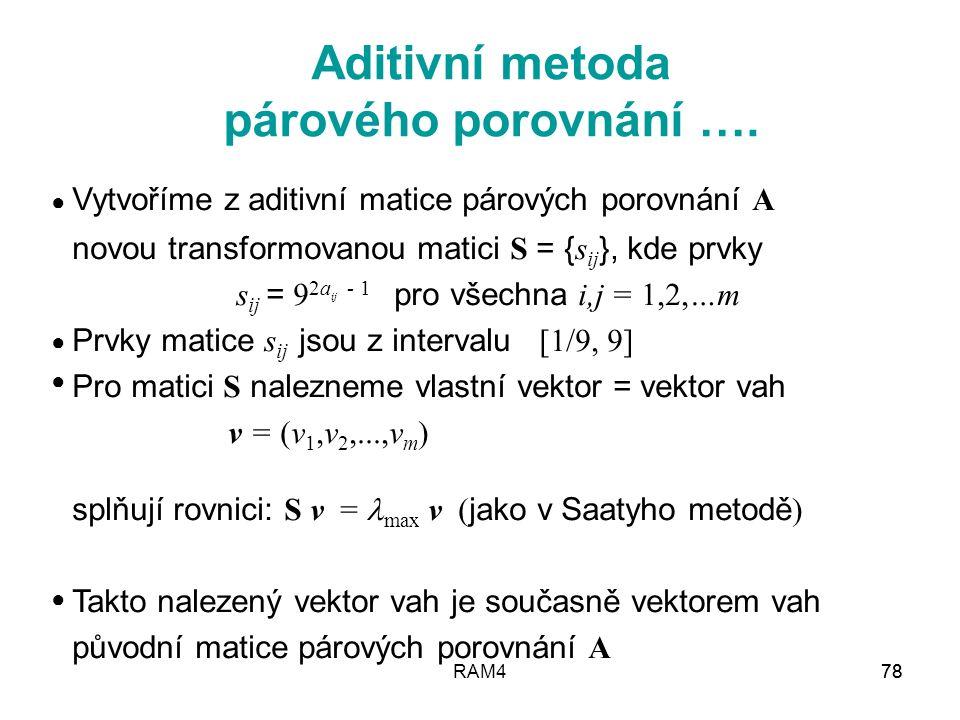 Aditivní metoda párového porovnání ….