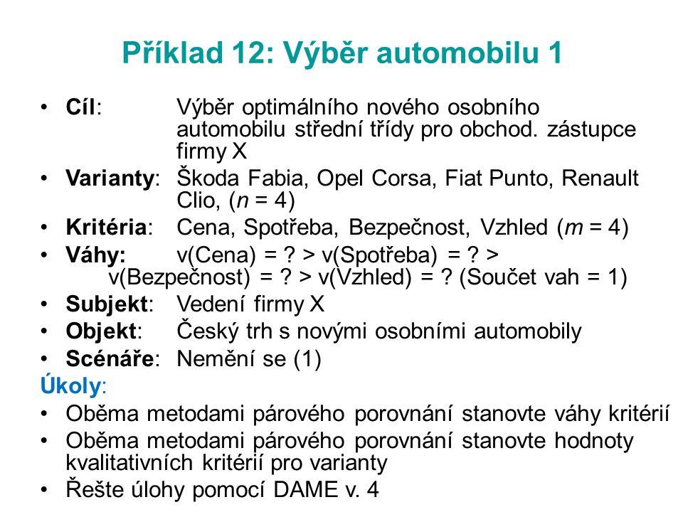 Příklad 12: Výběr automobilu 1