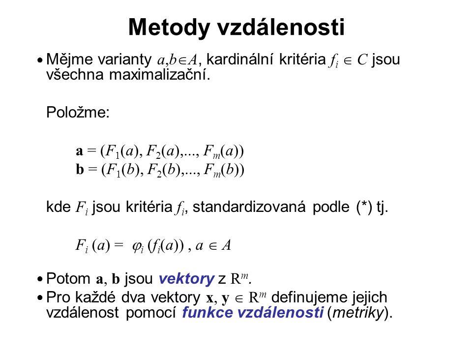 Metody vzdálenosti Mějme varianty a,bA, kardinální kritéria fi  C jsou všechna maximalizační. Položme: