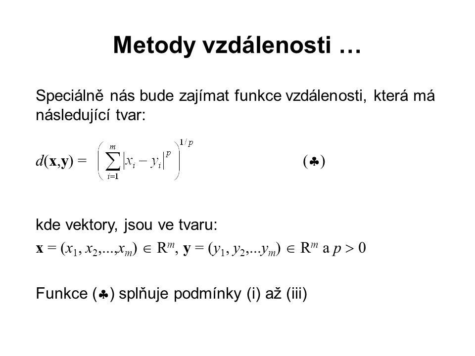 Metody vzdálenosti … Speciálně nás bude zajímat funkce vzdálenosti, která má následující tvar: d(x,y) = ()