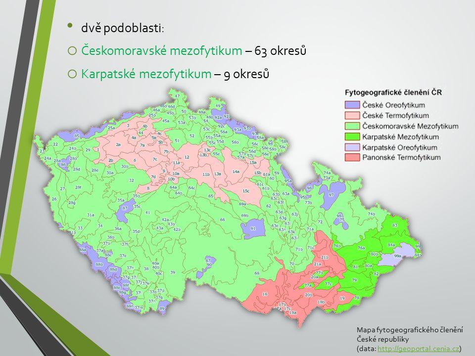 Českomoravské mezofytikum – 63 okresů Karpatské mezofytikum – 9 okresů