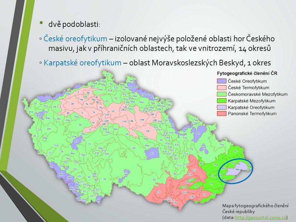 ◦ Karpatské oreofytikum – oblast Moravskoslezských Beskyd, 1 okres