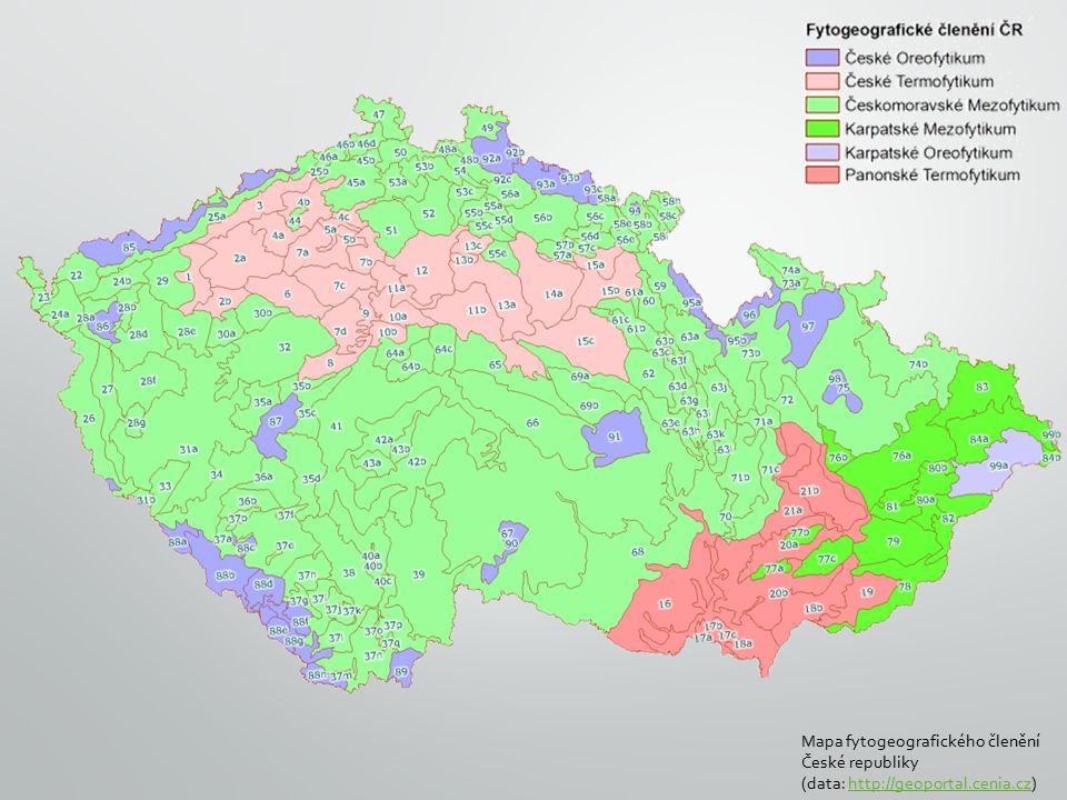 Mapa fytogeografického členění České republiky (data: http://geoportal