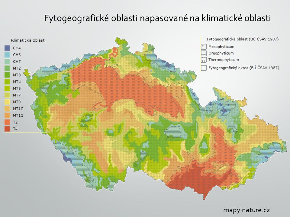 Fytogeografické oblasti napasované na klimatické oblasti