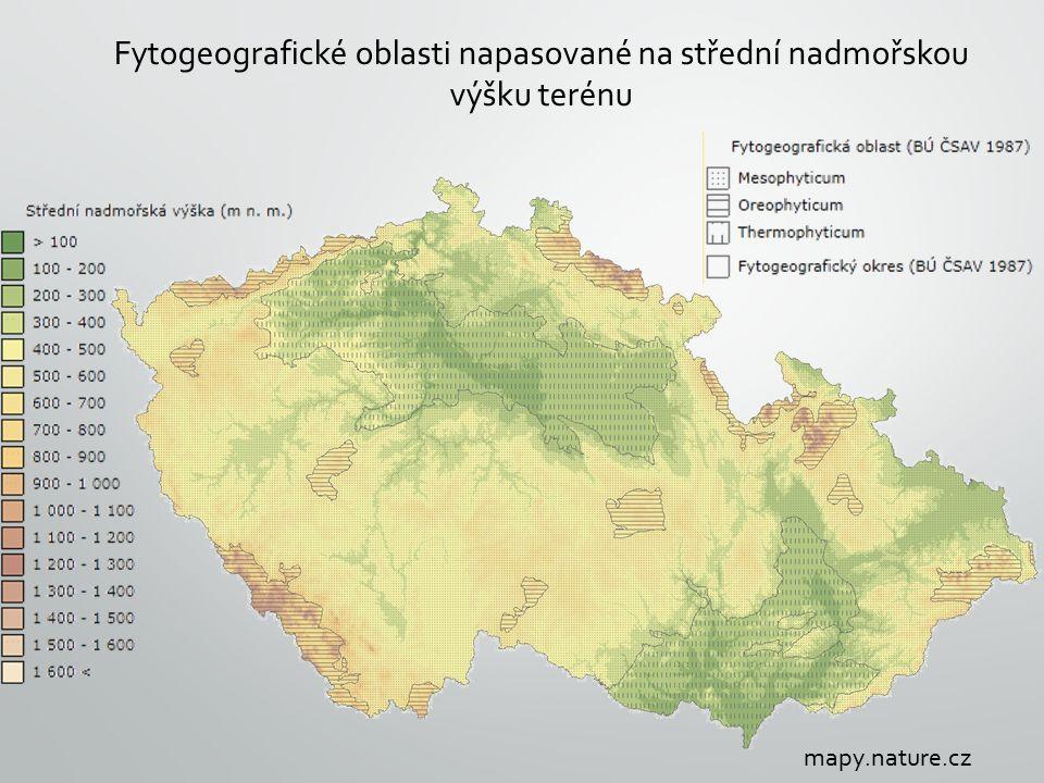 Fytogeografické oblasti napasované na střední nadmořskou výšku terénu