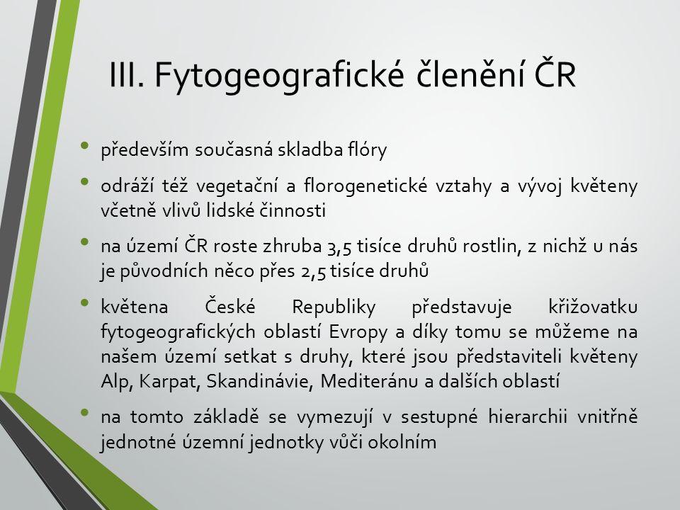 III. Fytogeografické členění ČR