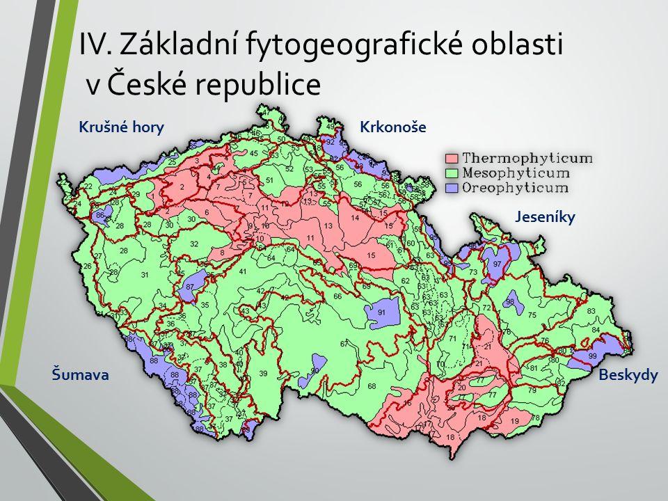 IV. Základní fytogeografické oblasti v České republice