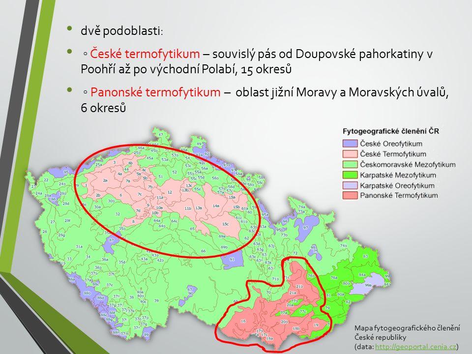 dvě podoblasti: ◦ České termofytikum – souvislý pás od Doupovské pahorkatiny v Poohří až po východní Polabí, 15 okresů.