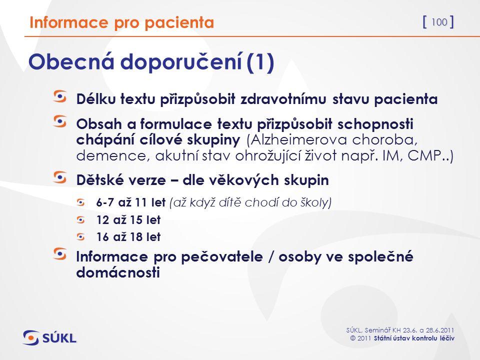 Obecná doporučení (1) Informace pro pacienta