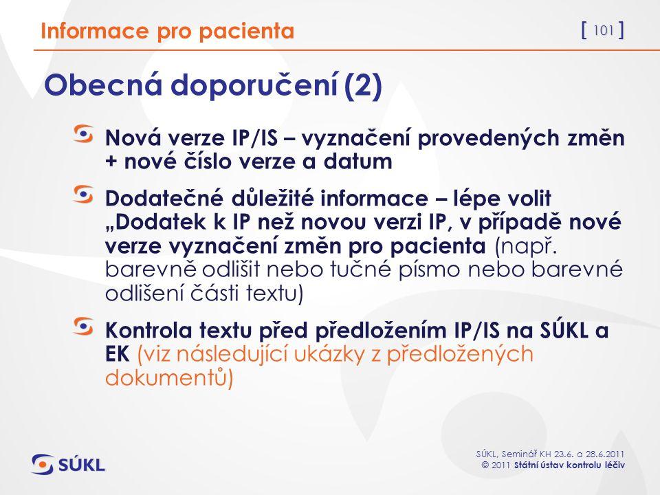 Obecná doporučení (2) Informace pro pacienta