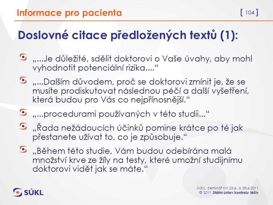 Doslovné citace předložených textů (1):