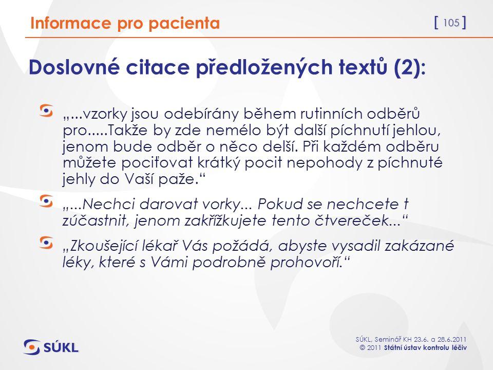 Doslovné citace předložených textů (2):