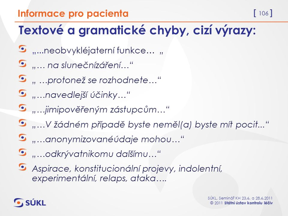 Textové a gramatické chyby, cizí výrazy: