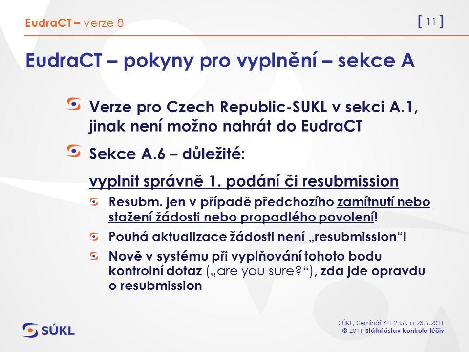 EudraCT – pokyny pro vyplnění – sekce A
