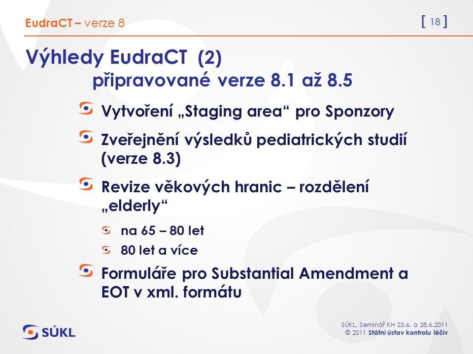 Výhledy EudraCT (2) připravované verze 8.1 až 8.5