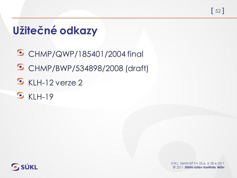 Užitečné odkazy CHMP/QWP/185401/2004 final
