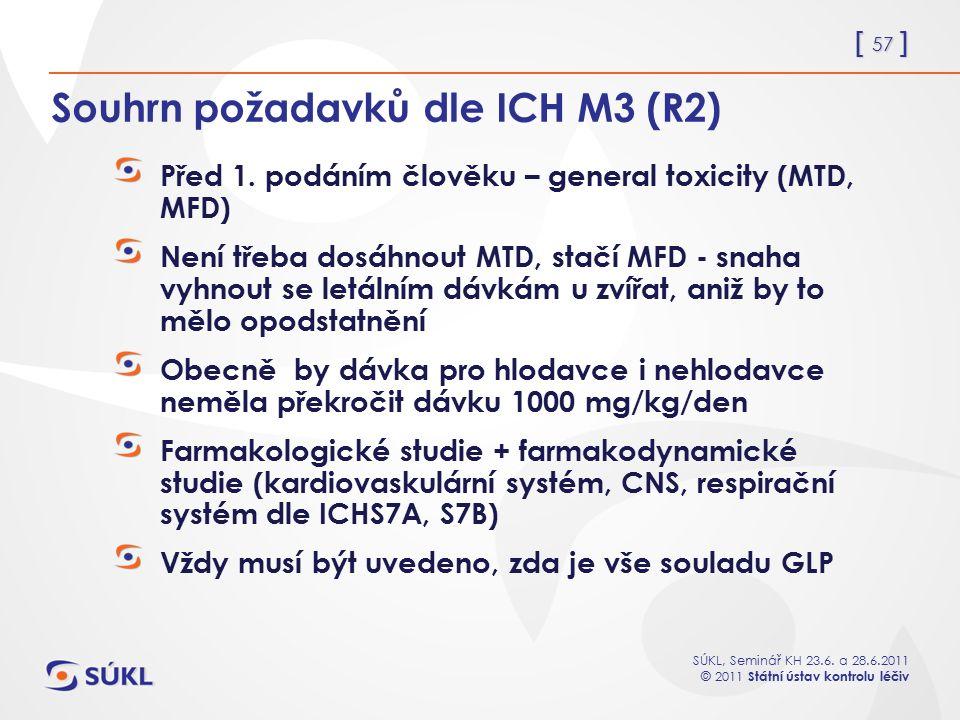 Souhrn požadavků dle ICH M3 (R2)