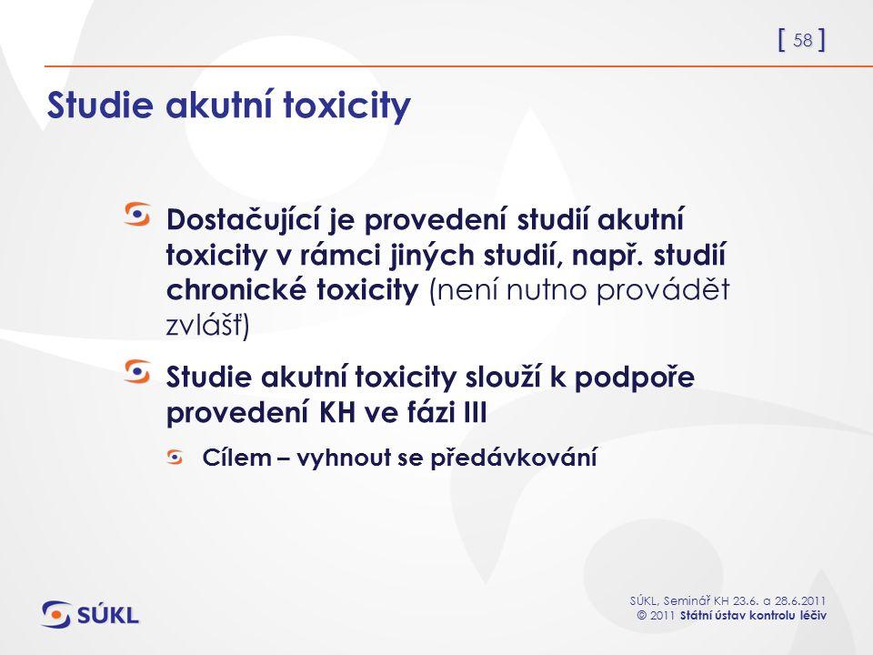 Studie akutní toxicity