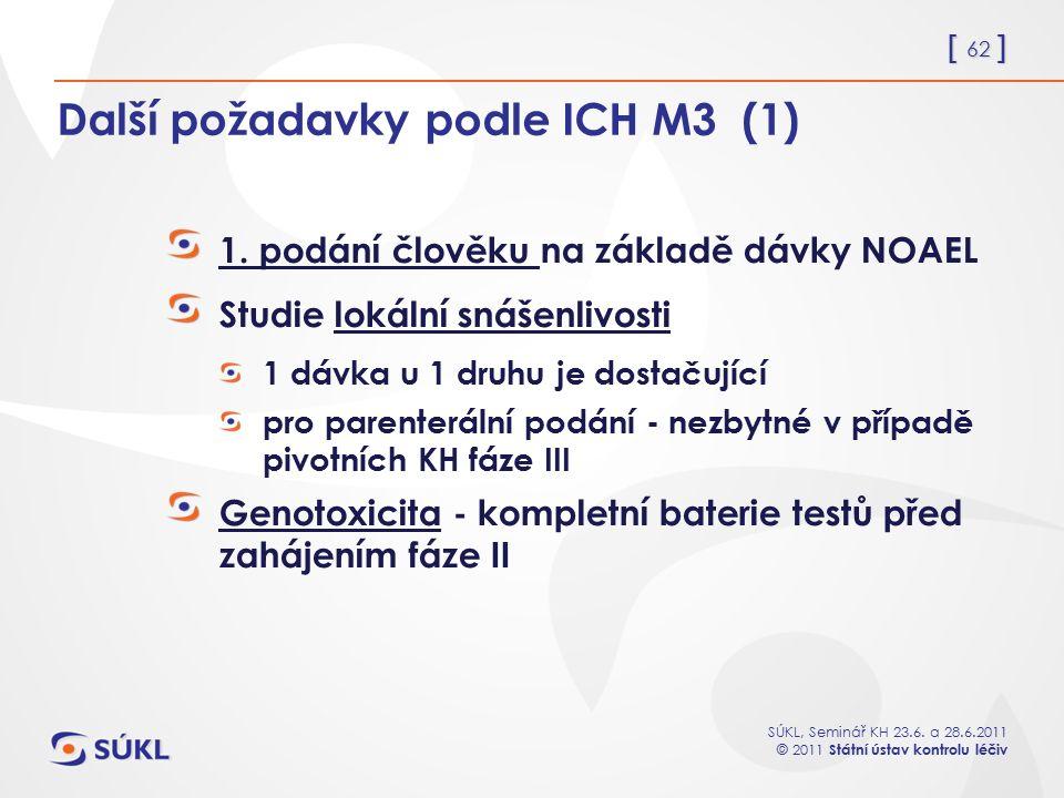 Další požadavky podle ICH M3 (1)