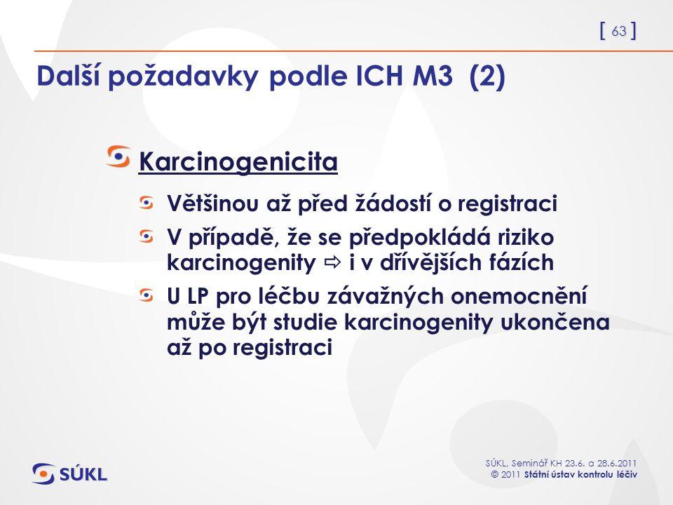 Další požadavky podle ICH M3 (2)