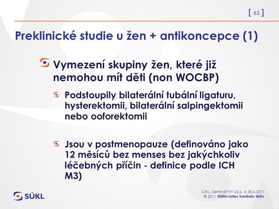 Preklinické studie u žen + antikoncepce (1)