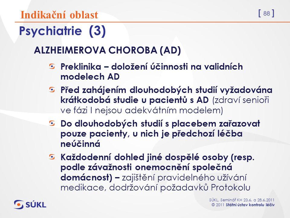 Psychiatrie (3) Indikační oblast ALZHEIMEROVA CHOROBA (AD)