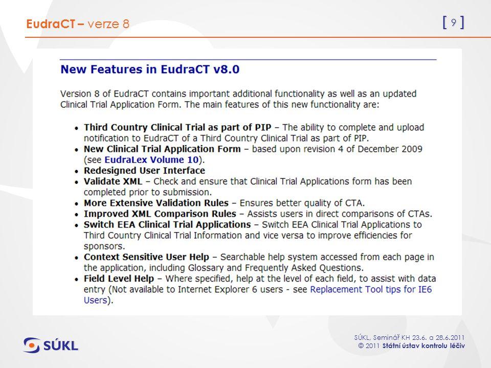 EudraCT – verze 8