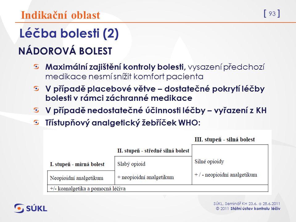 Léčba bolesti (2) Indikační oblast NÁDOROVÁ BOLEST