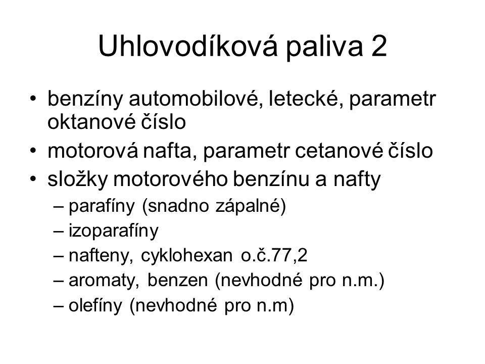 Uhlovodíková paliva 2 benzíny automobilové, letecké, parametr oktanové číslo. motorová nafta, parametr cetanové číslo.