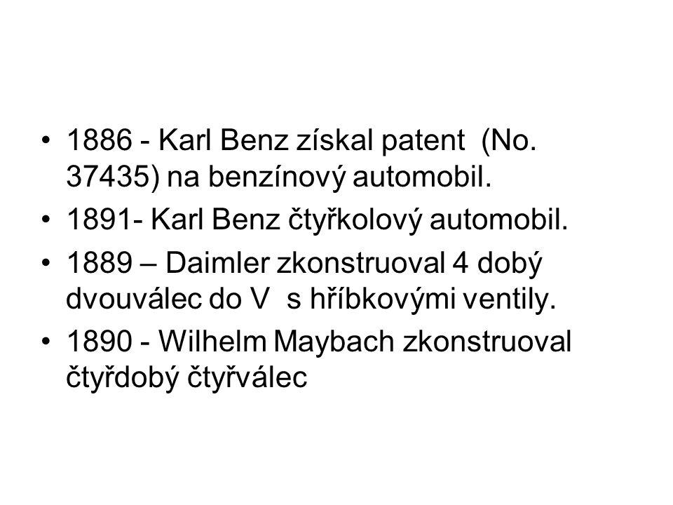 1886 - Karl Benz získal patent (No. 37435) na benzínový automobil.