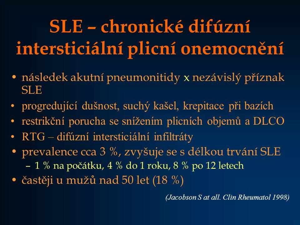 SLE – chronické difúzní intersticiální plicní onemocnění