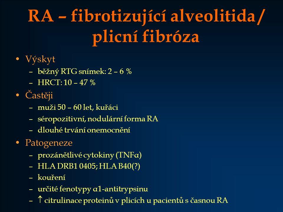 RA – fibrotizující alveolitida / plicní fibróza