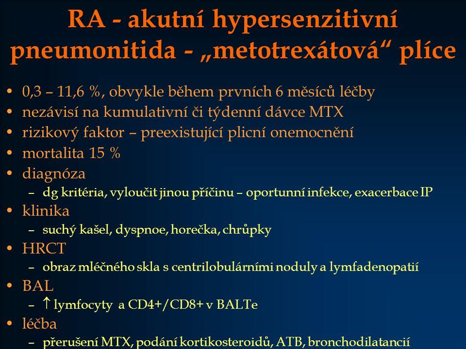 """RA - akutní hypersenzitivní pneumonitida - """"metotrexátová plíce"""