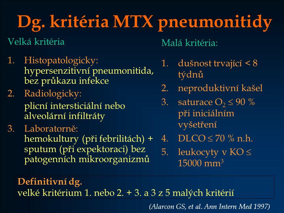 Dg. kritéria MTX pneumonitidy