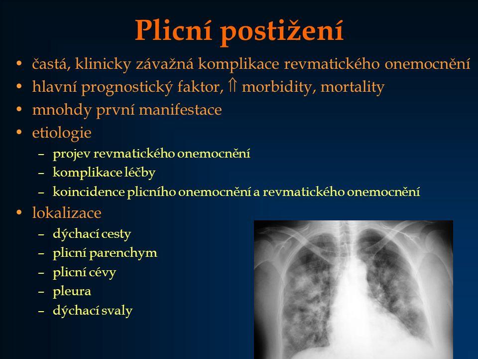 Plicní postižení častá, klinicky závažná komplikace revmatického onemocnění. hlavní prognostický faktor,  morbidity, mortality.
