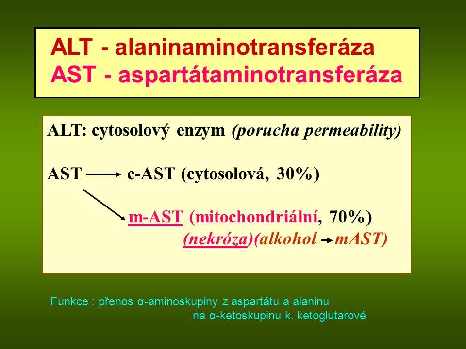 ALT - alaninaminotransferáza AST - aspartátaminotransferáza