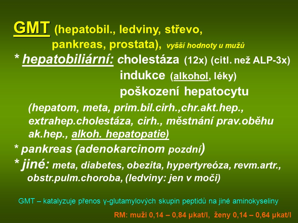 GMT (hepatobil., ledviny, střevo,
