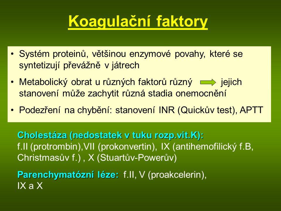 Koagulační faktory Systém proteinů, většinou enzymové povahy, které se syntetizují převážně v játrech.