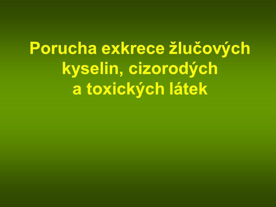 Porucha exkrece žlučových kyselin, cizorodých a toxických látek