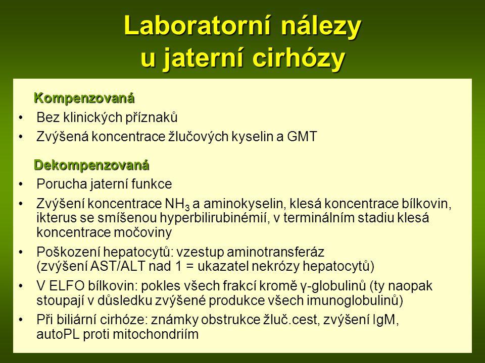 Laboratorní nálezy u jaterní cirhózy