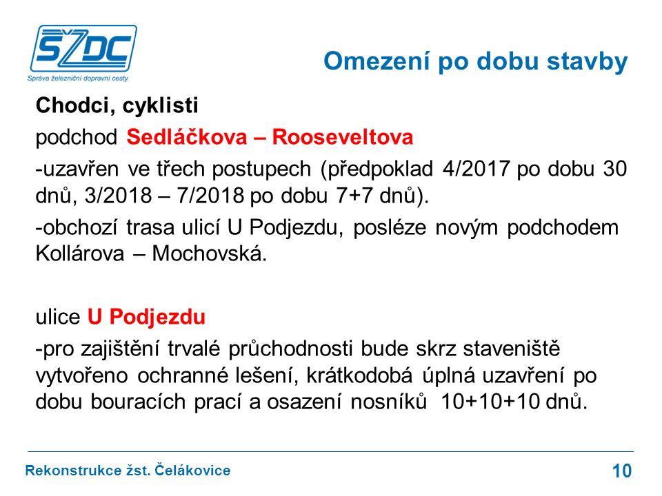Omezení po dobu stavby Chodci, cyklisti