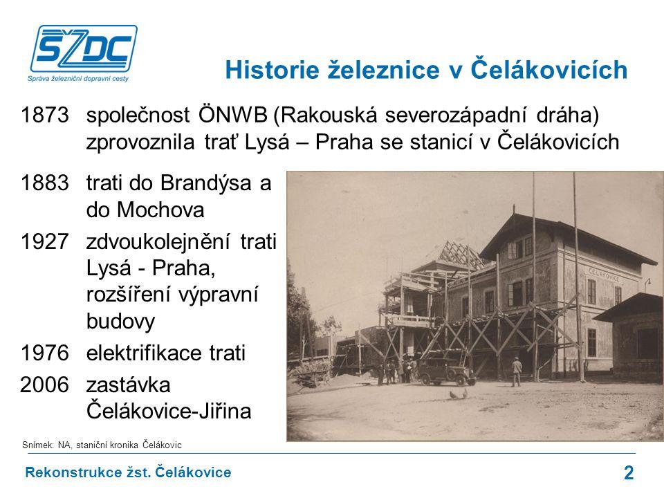 Historie železnice v Čelákovicích