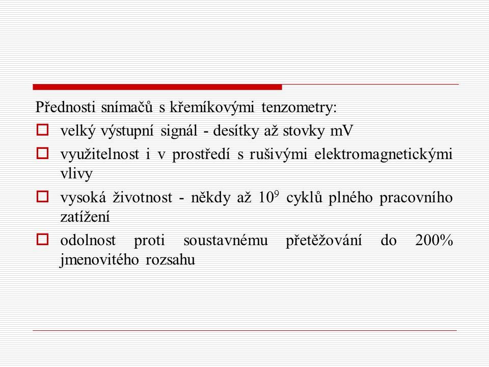 Přednosti snímačů s křemíkovými tenzometry: