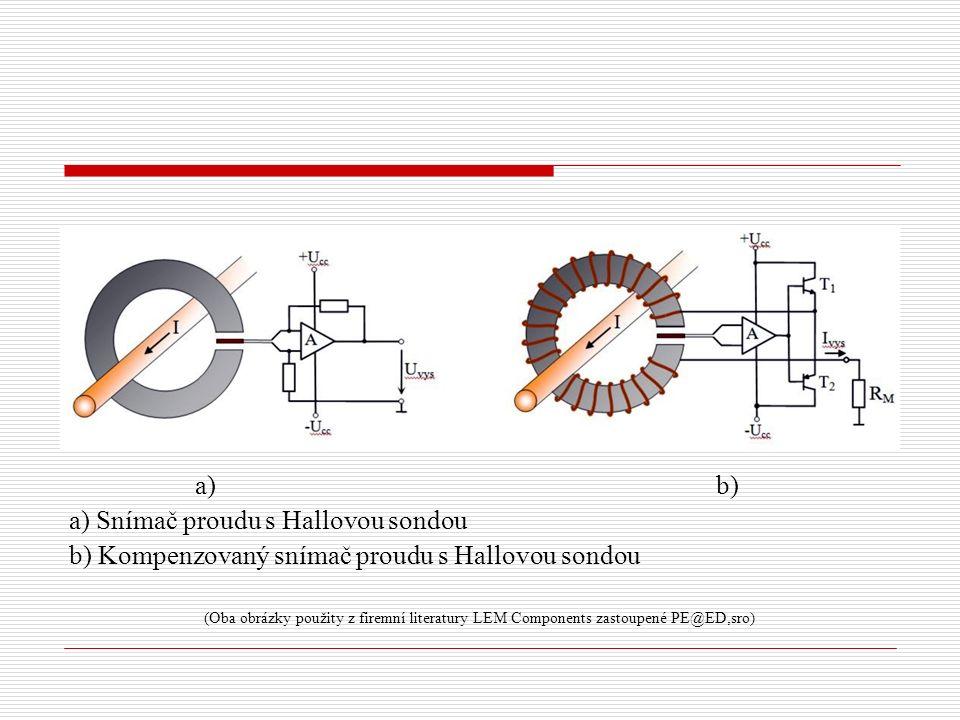 a) Snímač proudu s Hallovou sondou