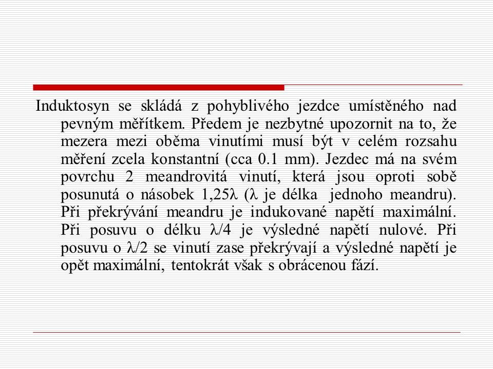 Induktosyn se skládá z pohyblivého jezdce umístěného nad pevným měřítkem.